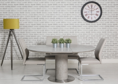 Delta Concrete Round Extending Dining Table and 4 Seattle Taupe Chairs