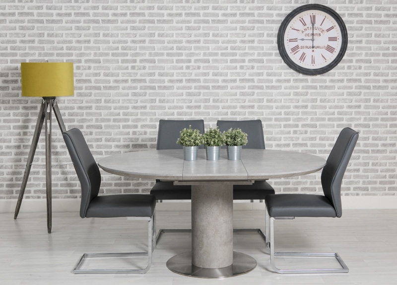 Delta Concrete Round Extending Dining Table And 4 Seattle Grey Chairs Cfs Furniture Uk