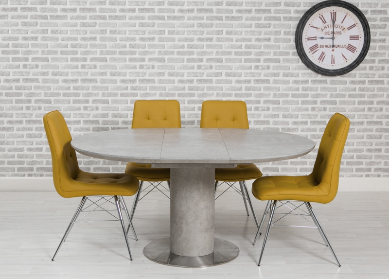Delta Concrete Round Extending Dining Table and 4 Tampa Ochre Chairs
