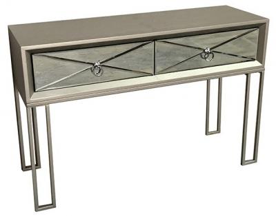 Diamond Silver Mirrored Console Table