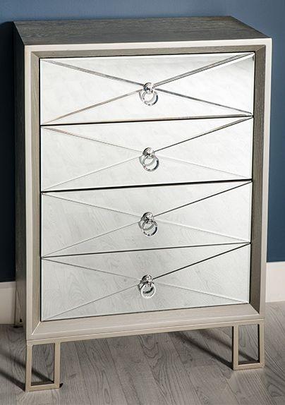 Diamond Silver Mirrored 4 Drawer Dresser Chest