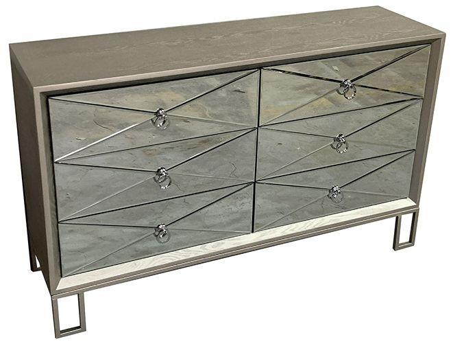 Diamond Silver Mirrored 6 Drawer Dresser Chest