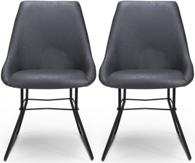 Cooper Grey Faux Leather Dining Chair (Pair)