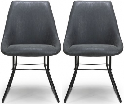 Cooper Wax Grey Faux Leather Dining Chair (Pair)