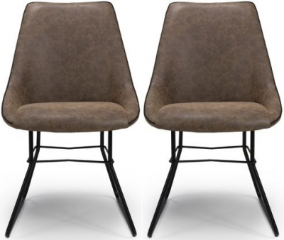 Cooper Wax Tan Faux Leather Dining Chair (Pair)