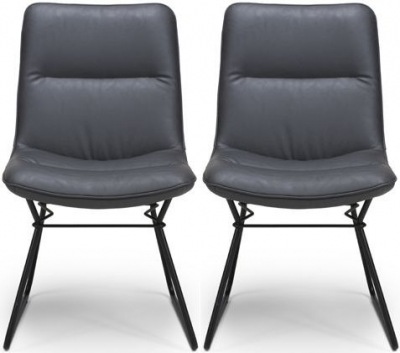 Darcy Grey Faux Leather Dining Chair (Pair)
