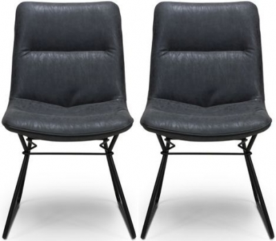 Darcy Wax Grey Faux Leather Dining Chair (Pair)