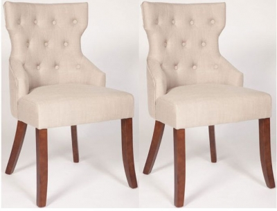 Coco Beige Linen Fabric Dining Chair (Pair)