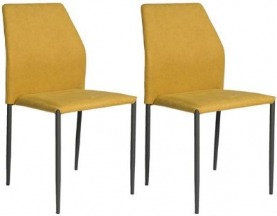Milo Yellow Fabric Stackable Dining Chair (Set of 4)