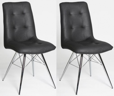 Tampa Grey Faux Leather Dining Chair (Pair)