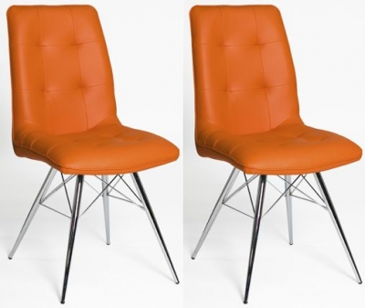 Tampa Orange Faux Leather Dining Chair (Pair)