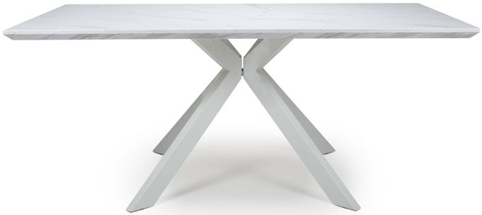 Bianco White Marble Effect Extending Dining Table