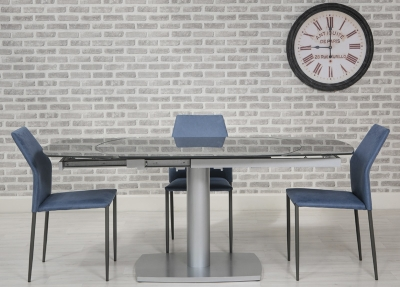 Eclipse Glass Oval Extending Dining Table and 4 Milo Chairs - Grey and Blue