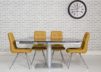Eclipse Glass Oval Extending Dining Table and 4 Tempa Chairs - Grey and Ochre