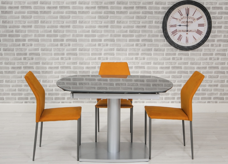 Eclipse Glass Oval Extending Dining Table and 4 Milo Chairs - Grey and Orange