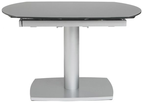 Eclipse Grey Glass Oval Extending Dining Table