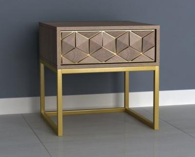 Elyse 3D Cube Mango Wood 1 Drawer End Table