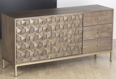 Elyse 3D Cube Mango Wood Large Sideboard
