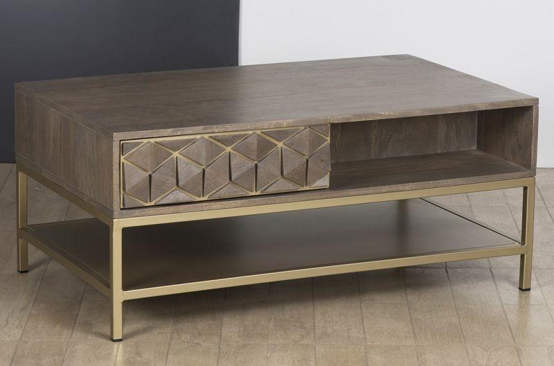 Elyse 3D Cube Mango Wood Coffee Table