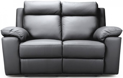 Enzo Grey Leather 2 Seater Fixed Sofa