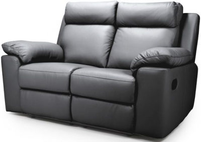 Enzo Grey Leather 2 Seater Recliner Sofa