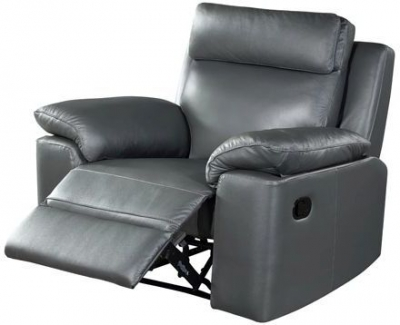 Enzo Grey Leather Electric Recliner Armchair