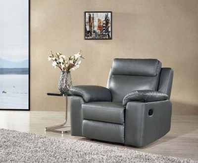 Enzo Grey Leather Recliner Armchair