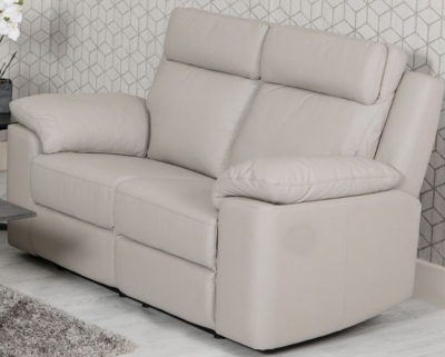 Enzo Putty Leather 2 Seater Fixed Sofa