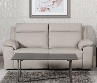 Enzo Putty Leather 3 Seater Fixed Sofa