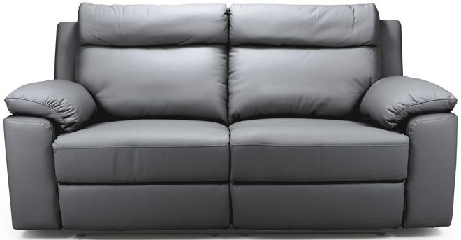 Enzo Grey Leather 3 Seater Fixed Sofa