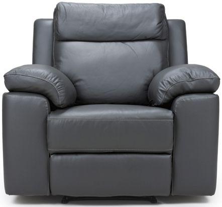 Enzo Grey Leather Fixed Armchair