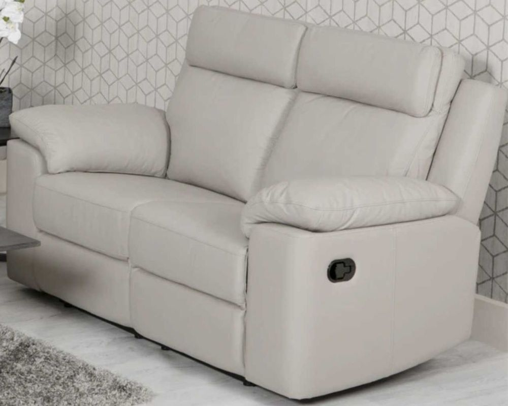 Enzo Putty Leather 2 Seater Recliner Sofa