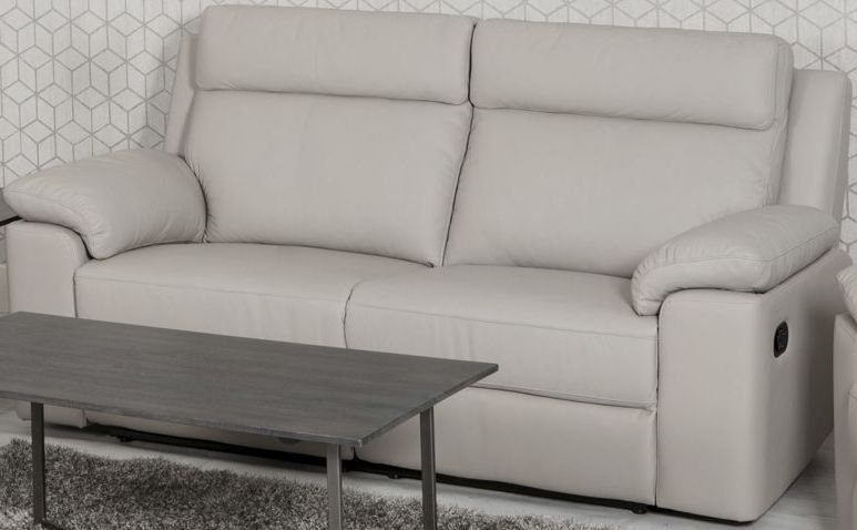 Enzo Putty Leather 3 Seater Electric Recliner Sofa