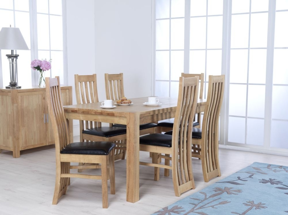 Eve Natural Oak Rectangular Dining Set with 6 Chairs - 160cm
