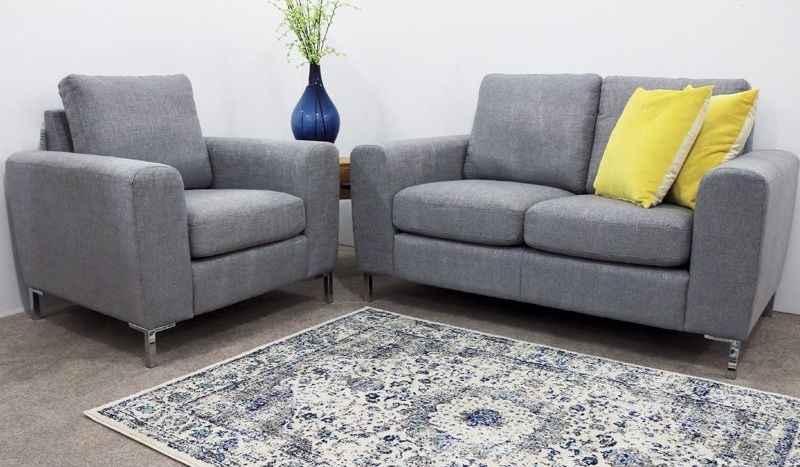 Gibson Grey Fabric 3+1+1 Seater Fixed Sofa