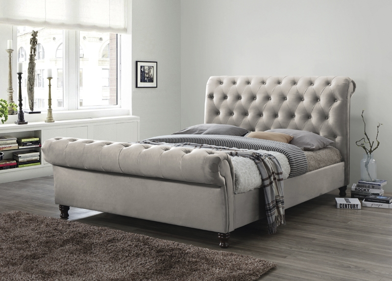 Grace Champagne Fabric Bed