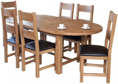 Hampshire Oak Oval Extending Dining Table