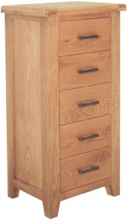 Hampshire Oak 5 Drawer Slim Chest