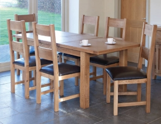 Hampshire Oak Extending Dining Table and 6 Padded Seat Chairs