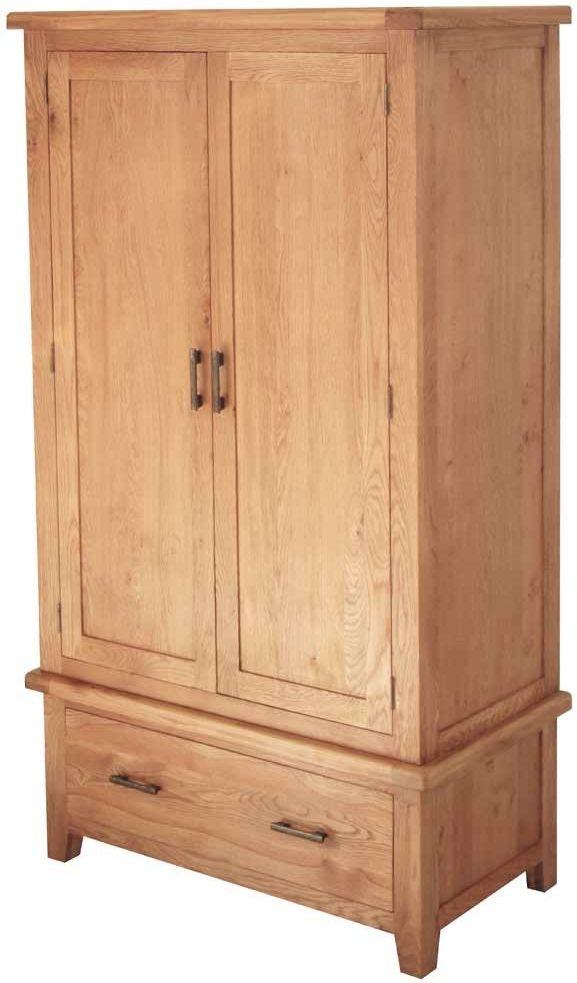 Hampshire Oak 2 Door 1 Drawer Wardrobe