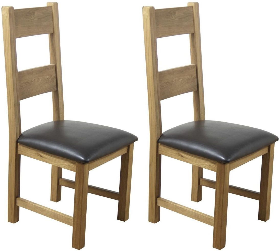 Hampshire Oak Padded Seat Dining Chair (Pair)
