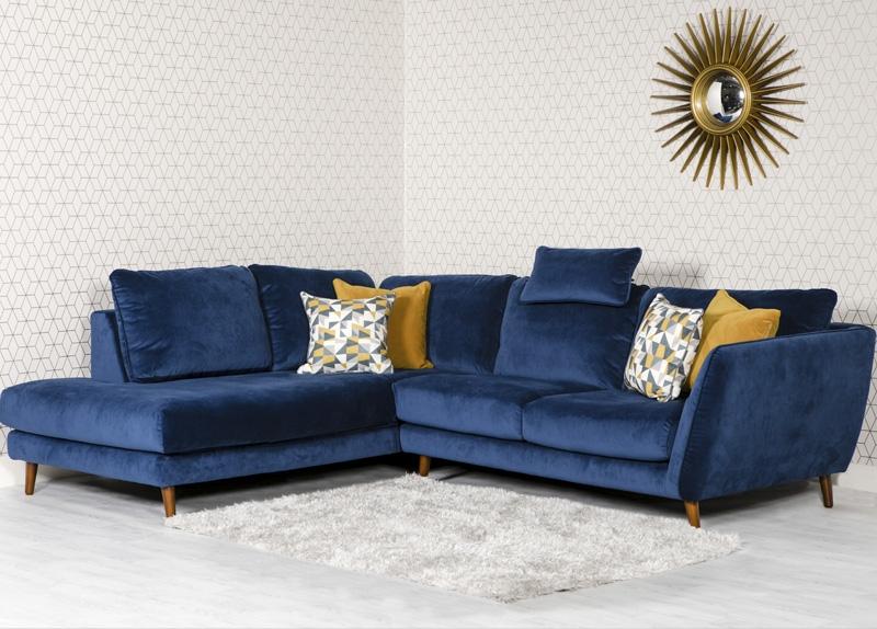 Helsinki Blue Velvet Left Hand Facing Corner Sofa