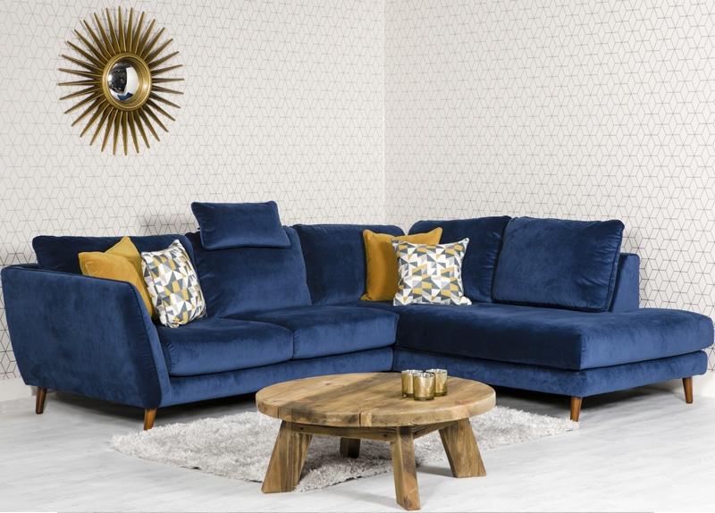 Helsinki Blue Velvet Right Hand Facing Corner Sofa