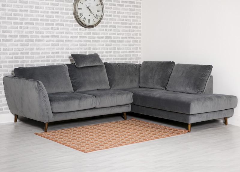 Helsinki Grey Velvet Right Hand Facing Corner Sofa