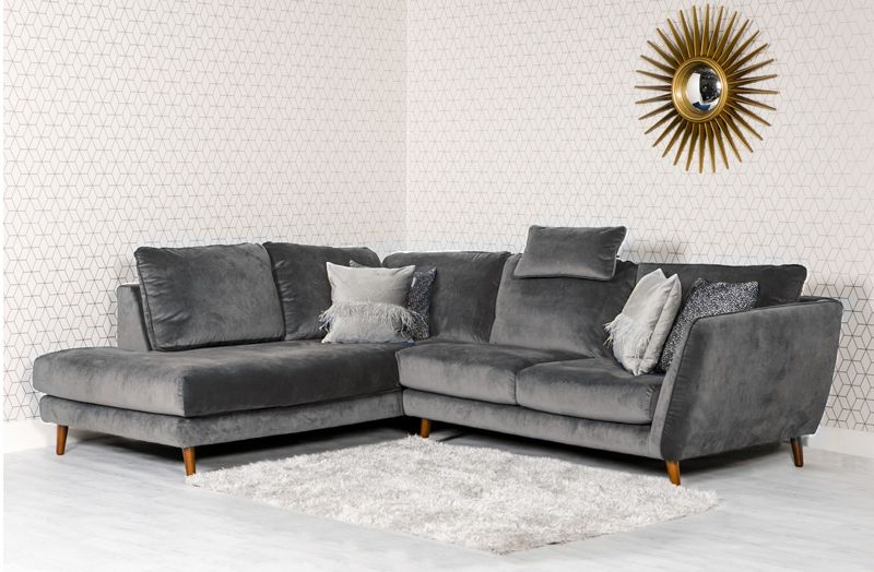 Helsinki Grey Fabric Corner Sofa LHF with Headrest