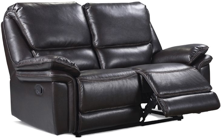 Houston Brown Leather Look Fabric 2 Seater Recliner Sofa
