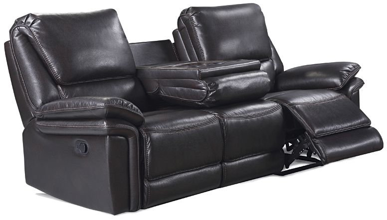 Houston Brown Leather Look Fabric 3 Seater Recliner Sofa
