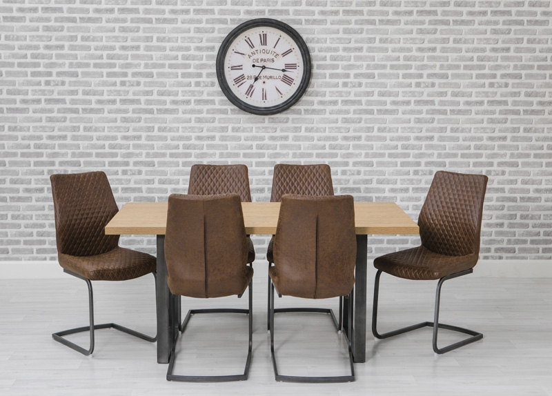 Hugo Oak Rectangular Dining Set with Metal Legs with 6 Charlie Chairs - 160cm