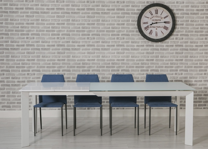 Infinity White Dining Set - 140cm-230cm Rectangular Extanding with 4 Milo Blue Chairs