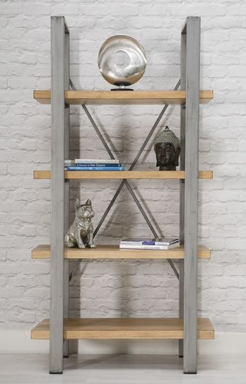 Loft Oak Bookcase with Metal Legs